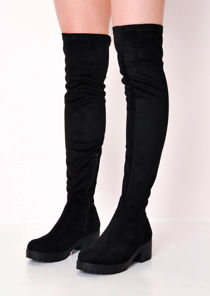 Knee High Platform Cleated Over The Knee Chunky Faux Suede Boots Black