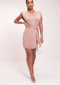 Shoulder Padded Belted Sleeveless Knitted Midi Dress Pink