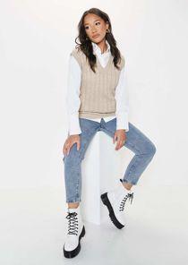Oversized Cable Knit Sleeveless V Neck Vest Top Beige