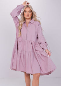 Oversized Collared Gathered Sleeves Smock Dress Pink