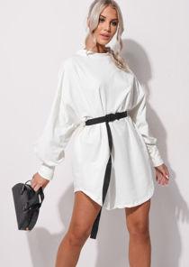 Oversized Drop Shoulder Utility Belt Sweater Dress White