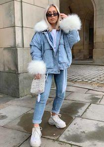 Oversized Faux Fur Collar Cuff Fleece Denim Jacket White