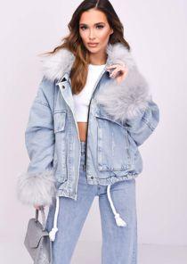 Oversized Faux Fur Collar Cuff Fleece Denim Jacket Grey