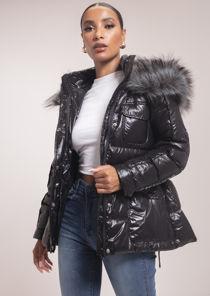 Faux Fur Hooded Belted Puffer Coat Black