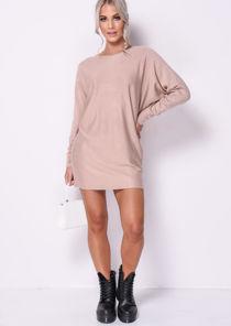 Oversized Knit Batwing Jumper Dress Beige
