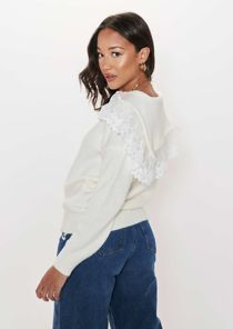 Oversized Knitted Peter Pan Collared Floral Lace Sweater Top Beige