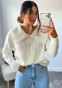 Oversized Lace Trimmed Collared Ribbed Knit Cardigan Top White