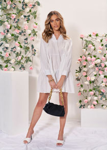Oversized Long Sleeved Frill Tiered Smock Shirt Dress White