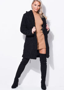 Oversized Longline Borg Teddy Coat Black