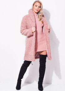 Oversized Longline Borg Teddy Coat Pink