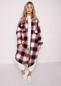 Oversized Longline Button Down Brushed Checked Print Shacket Red