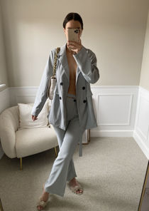 Oversized Blazer Top And Cut Out Belted Straight Leg Pants Co-Ord Blue