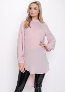 Oversized Pearl Embellished Longline Top Pink
