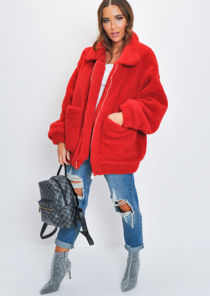 Oversized Pockets Zip Front Borg Jacket Red