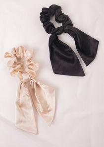 Oversized Satin Ruched Bow Scrunchie Hair Tie Beige
