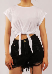 Oversized Short Sleeve Knot Tie Fronted Crop Top White