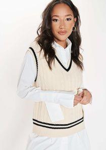 Oversized V Neck Sleeveless Cable Knit Sweater Vest Top Beige