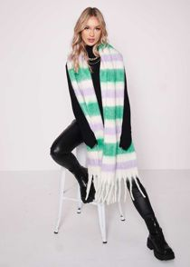 Oversized Striped Wool Tassel End Scarf Multi