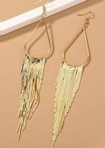 Oversized Tasselled Tear Shaped Hook Earrings Gold