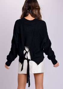 Oversized Tie Back Chunky Cable Knitted Jumper Black