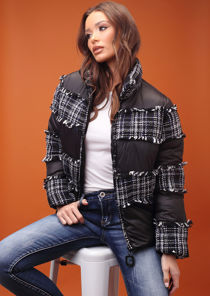 Oversized Tweed Frayed Panelled Puffer Crop Coat Black