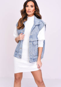 Light Wash Oversized Utility Denim Gilet Blue