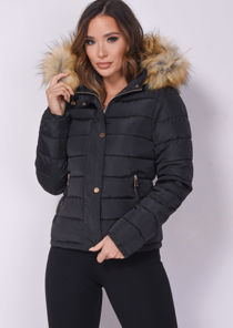 Padded Faux Fur Hooded Quilted Puffer Coat Black
