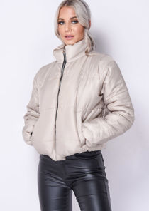 Padded Quilted Fully Lined High Collared Crop Puffer Jacket Beige