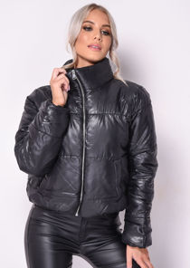 Padded Quilted High Collared Crop Puffer Jacket Black