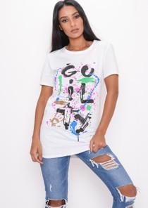 Paint Splatter Graffiti T-Shirt White