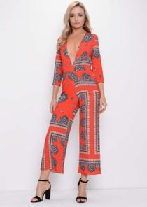 Paisley Print Plunge Culotte Jumpsuit Orange