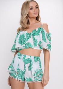 Palm Print Frill Bardot Top Shorts Co Ord Set Green