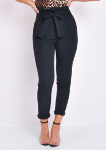 Paperbag Waist Belted Trousers Black