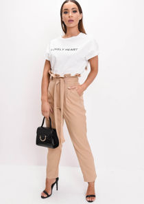 Paperbag Waist Tapered Trousers Camel Beige