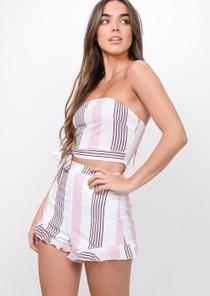 Pastel Stripe Crop Top Shorts Co Ord Pink