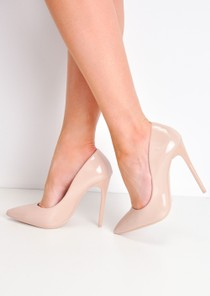 Patent Stiletto Pointed High Heels Beige