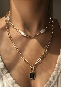 Pearl Beaded Pendant Oval Chained Two Piece Necklace Set Gold