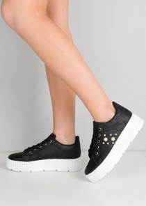 Pearl Glitter Flatform Lace Up Trainers Black