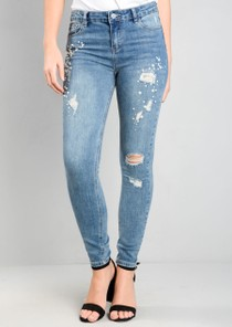 Pearl Sequin Ripped Denim Skinny Jeans Blue