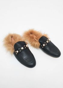 Pearl Studded Faux Fur Flat Slip On Mule Loafers Black