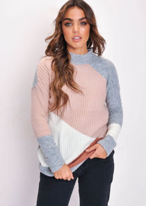 Pink Grey Colour Block Ribbed High Neck Jumper Multi