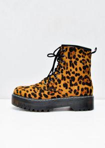 Leopard Print Platform Faux Suede Combat Ankle Boots Multi