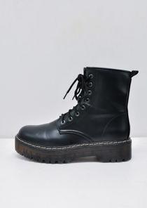 Platform Faux Leather Combat Ankle Boots Black