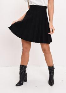 Pleated Knit Mini Skirt Black