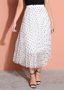 Pleated Polka Dot High Waisted Midi Skirt White