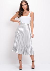 Pleated Satin Metallic Midi Skirt Silver