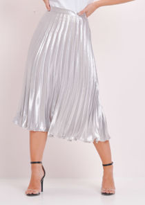Pleated Satin Metallic Midi Skirt Silver