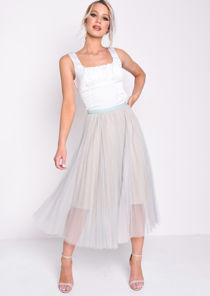 Pleated Tulle Mesh Midi Skirt Green