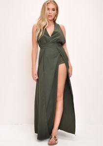 Plunge Front Split Leg Maxi Dress Khaki Green