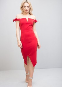 Plunge Off The Shoulder Bow Midi Dress Red